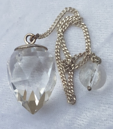 Faceted Clear Quartz Crystal Sterling Silver Pendulum